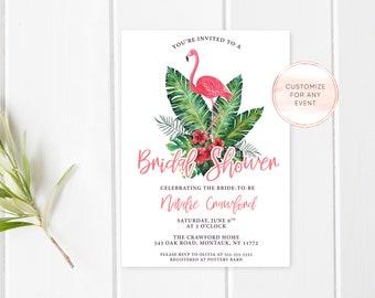 Bridal Shower Invitation, Bridal Shower Invite, Bridal Shower Invites, Flamingo Bridal Shower Invitation, Tropical Bridal Shower [748]