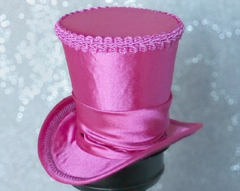 Fuchsia Mini Top Hat, Mini Top Hat, Mad Hatter Hat, Fascinator, Kentucky Derby Fascinator Hat, Tea Party Hat, Wedding Hat, Women Top Hat