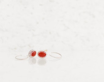 silver earrings with carnelians