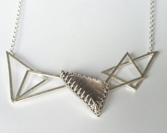 Sterling silver handmade rutilated quartz necklace, hallmarked in Edinburgh