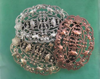 Filigree Oval French Barrette 70MM- Hair Accessories- Barrettes and Clips- French Clips- Hair Accessories- Hair Clips