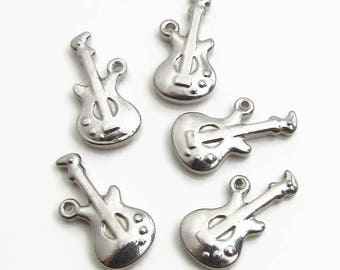 Guitar Charm, Stainless Steel Guitar Music Charm - Set of 5 SST Findings 11x20x3mm, Music Charm, Guitar Charm