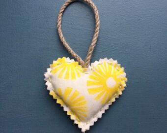 Hand printed fabric heart