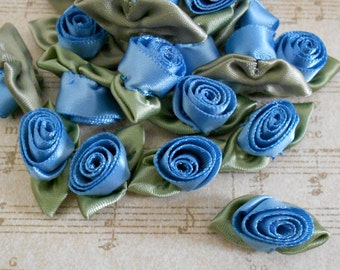 Blue Satin Rosettes