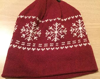 Red and white snowflake hat fleece lined ***FREE EMBROIDERY PERSONALIZATION of name or business name *black friday special of the week