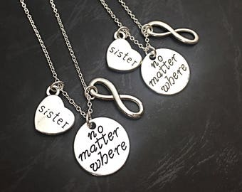 Set of 2, 925 Sterling Silver chain,No matter where necklace set of 2, best friend necklaces for 2, friendship jewelry, distance friends, 2