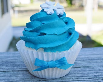 Blue Christmas Cupcake (fake)