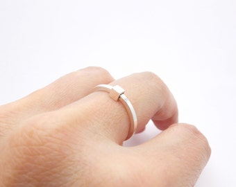 Simple silver stacking ring, minimalist silver ring, kubic silver stack ring, cute little ring