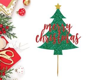 Merry Christmas Tree Cake Topper - Christmas Cake Topper - Merry Christmas - Christmas Party Supplies - Merry Xmas - Cake Topper - Holiday