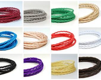 Fabric Flex Twisted Cable   Italian fabric flex   3 core   sold per meter   Multiple Colours