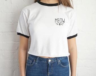 Meow Crop Ringer Top Shirt Tee Cropped T-shirt Grunge Cat Kitten Cute Slogan