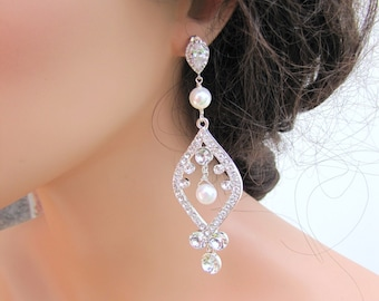 Elegant bridal statement earrings, large bridal chandelier earrings, long sparkling rhinestone drop earrings - Vervonica