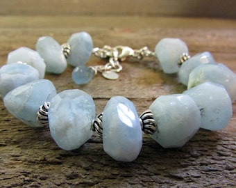 Aquamarine Nugget Bracelet, Baby Blue Chunky Gemstone Bracelet, Aquamarine & Sterling Silver