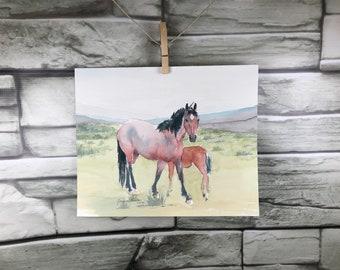 Horse art original watercolor painting - Red Roan Mustang Mare and Foal