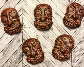 Faux Wood, Wiki Tiki Talismans, Set of 5, Lisa Kettell Designs