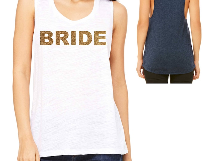 Bride Gold Glitter Loose MUSCLE TANK TOP - small, medium, large, xl, xxl - navy, white, black, royal blue, red, grey, olive