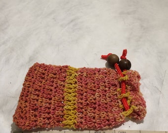 Ice Dyed Crochet Drawstring Pouch
