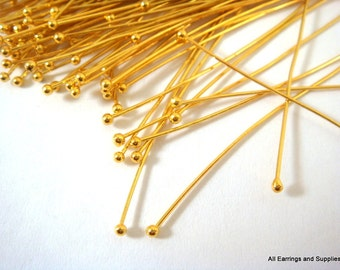 50+ Ball Headpins 2 inch Gold Plated Brass 22-24 Gauge NF Ball Pin - 50 pc - F4028BHP-G50 - Select Quantity