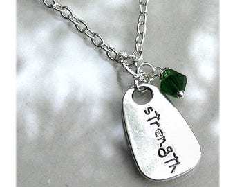 """Strength Necklace Personalize Custom Birthstone Crystal Gemstone Charm Necklace """"Strength"""" Silver Chain Necklace Gift For #N536"""
