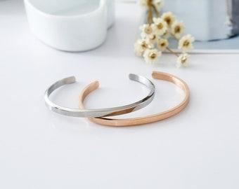 NEW 18K White / Rose Gold Filled Solid Women's 4mm Plain Bangle Bracelet