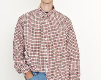 VINTAGE Red Checked Long Sleeve Button Downs Retro Shirt