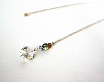 vintage chandelier glass and czech glass pendant Necklace