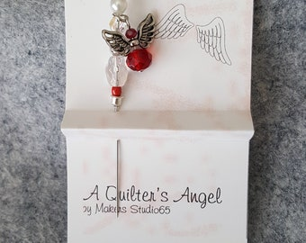 Pincushion Angel, Quilter's Angel, Stick Pin, Sewing Pin, Embellishment, Card Making, Sewing accessory, Ruby Red Dangling Angel