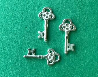 Six Sterling Silver Keys - Jewelry Findings - Artisan Handmade