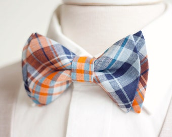Bow Tie, Mens Bow Tie, Bowtie, Bowties, Bow Ties, Bowties, Groomsmen Bow Ties, Wedding Bow Ties, Ties - Navy And Orange Organic Madras Plaid