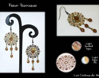 Earrings 'Fleur Baroque' - BRONZE + 4 Topaz