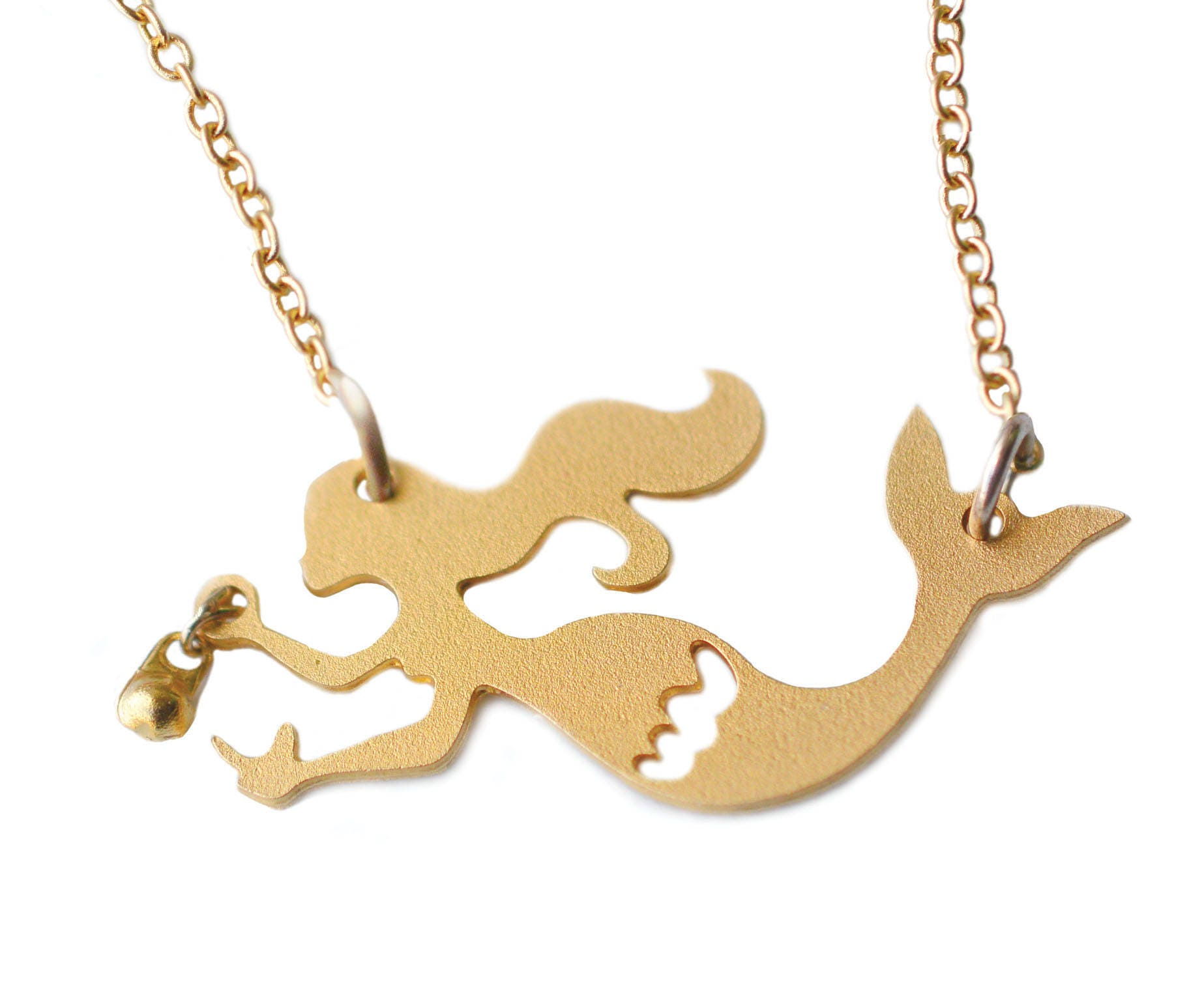 Gold mermaid necklace gift for girls tiny mermaid pendant zoom aloadofball Gallery