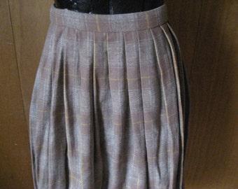 Tan Pleated Wool Skirt