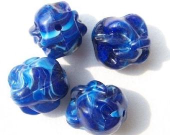 Vintage Acrylic Lumpy Bumpy Knotty Shades of Blue Beads  bds199