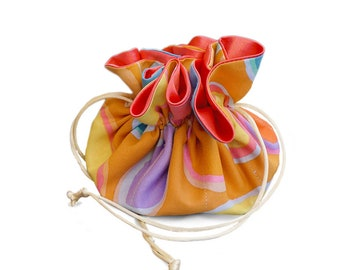 Draw String Jewelry  Travel Pouch - Cotton Colorful Circles Pattern with Pink Lining