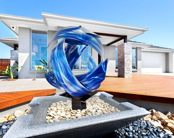 "Contemporary Modern Abstract Metal Indoor Outdoor Orb Sculpture Blue ""Synergy"" by Dustin Miller"