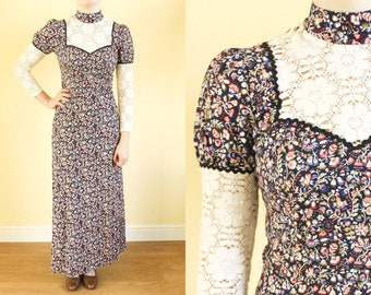 70s Vintage Maxi Dress • Hippy Boho Dress • Womens Dresses • High Neck • Victoriana • Black Floral Summer Dress • Lace Dress With Sleeves. S