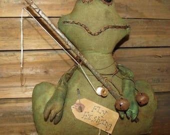 Primitive Frog/Primitive Spring Frog/Fly fishing frog/fishing pole/primitive handmade/primitive handmade/sitter/spring primitives/Spring