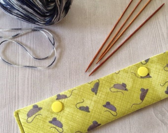 DPN knitting needle holder for double -pointed needles, grey mice  DPN case, Dpn holder, sock knitting accessory, knitters gift idea