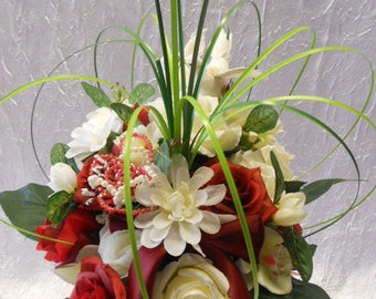 Bridal bouquet pink ivory and Burgundy