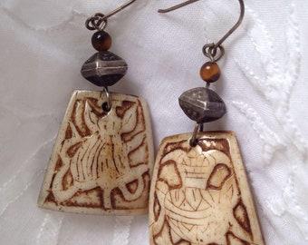 Vintage carved bone earrings