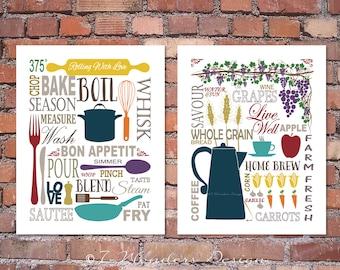 Modern Kitchen Art Prints   Culinary Love Fine Art   (2) 8x10, 11x14, 16x20  // Brown, Tan, Beige, Multi Color // Modern Kitchen Art Decor