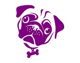 Pug v8 Dog Breed Custom Die Cut Vinyl Decal Sticker - Choose your Color and Size