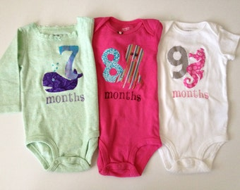 Girls Nautical Month-by-Month Bodysuits (Months 7-9)