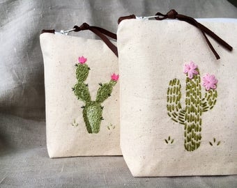 Personalized cosmetic bag, personalized makeup bag, Pencil pouch, Cactus, Monogrammed, gift