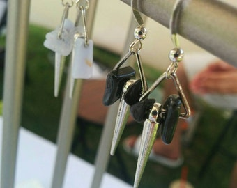 Hematite or Blue Lace Agate with spike earrings. Sterling Silver hooks. Minimal. Edgy. Unique. Made to order.