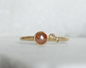 Rose Cut Diamond Ring - Diamond Twinkle Engagement Ring - Eco-Friendly Recycled Gold - Size 6.25