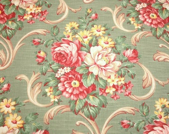 Peonies Barkcloth | Lovely Peony Bouquets on Sage Green Vintage Barkcloth Fabric Piece - 47 Inches Long x 33 Inches Wide - 9 Bouquets