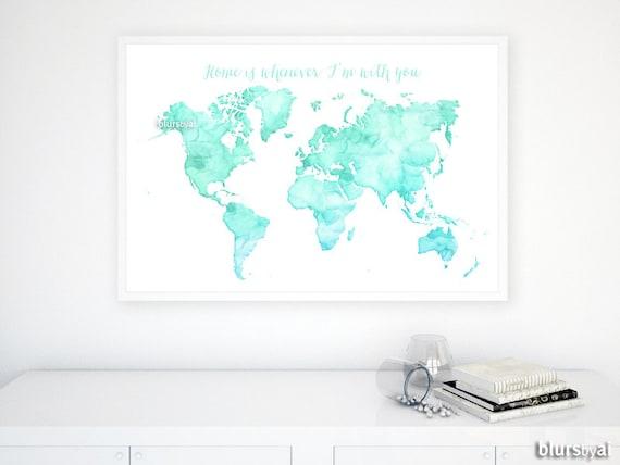 36x24 printable watercolor world map mint aqua world gumiabroncs Gallery