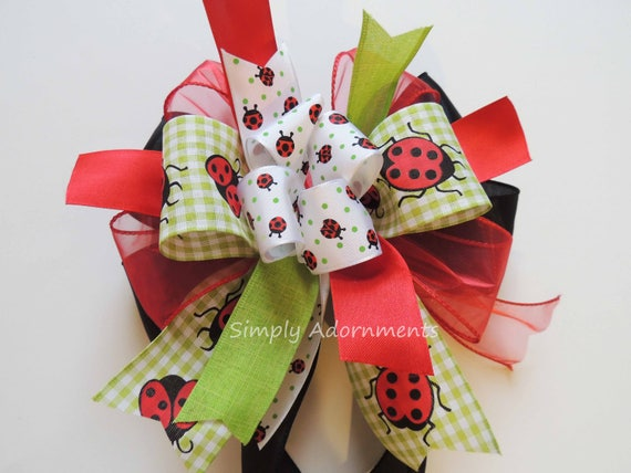 Ladybug baby shower Party Decor Red Green Ladybug birthday party decor Ladybug Wreath Bow Ladybug Wedding Decor Ladybug Party Decor Gift Bow