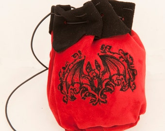 Large leather pouch with gothic bat embroidery medieval drawstring alchemist witch larp ren faire halloween steampunk red black dice bag